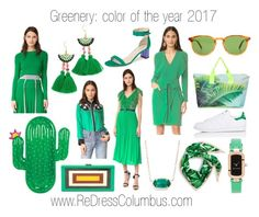 """""""Greenery: color of the year"""" by redress on Polyvore featuring Sunnylife, Samudra, BCBGMAXAZRIA, Garrett Leight, Cynthia Rowley, Milly, Shashi, Marc Jacobs, Three Floor and Cédric Charlier"""