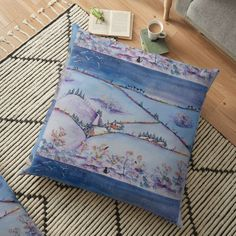 Floor Pillows, Throw Pillows, Large Cushions, Weird Holidays, Meaningful Gifts, Winter Scenes, Pillow Design, Original Paintings, Coin Purse