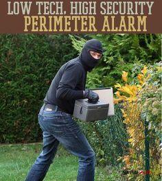 Low Tech, High Security Perimeter Alarm | DIY Home Security for Preppers, Badass SHTF Home Defense By Survival Life http://survivallife.com/2014/06/02/diy-perimeter-alarm-low-tech-high-security/