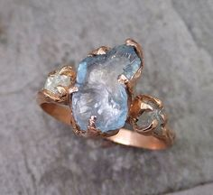 Raw Uncut Aquamarine Diamond Rose Gold Engagement Ring Wedding Ring Custom One Of a Kind Gemstone Ring Three stone Ring byAngeline