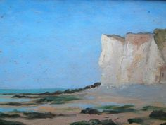 Cliffs on the ocean at Normandy - oil on wood from the late 1800s (artist unknown)