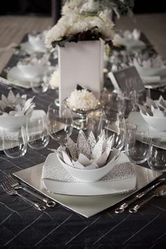 Gray #wedding table setting.