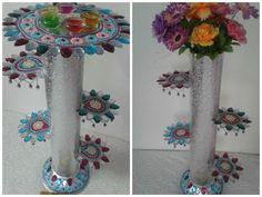 Diya stand or flower vase from old CD Courtesy: Maunkala Creativity Centre Courtesy: Maunkala Creativity Centre Upcycled Crafts, Easy Crafts, Crafts For Kids, Cd Art, Flower Vases, Flowers, Diwali Decorations, Rangoli Designs, Seasonal Decor