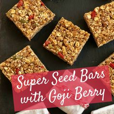 Super Seed Bars are made with a combination of rolled oats, organic brown rice cereal, almond butter and Goji berries which are high in antioxidants.  #GojiBerries #gojiberry #superfood #HealthyLife #organicfood #yogurt #health #nutrition