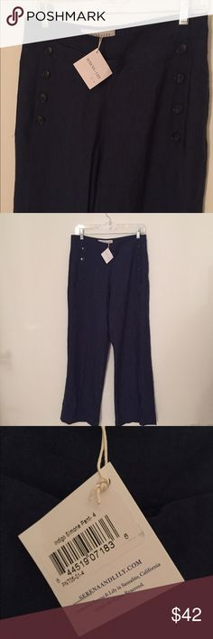Serena & Lily NEW WITH TAGS Simone linen pant Linen, breathable, stylish deep navy colored size 4 pants with a wide leg. They have buttons on the side (as seen in model photo) and have NEVER BEEN WORN. These are brand new with tags! Excellent condition and look great for those who love the flared, wider leg look! Serena & Lily Pants