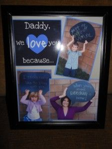 kids gift idea I love Christmas because... collage frame date and laminate