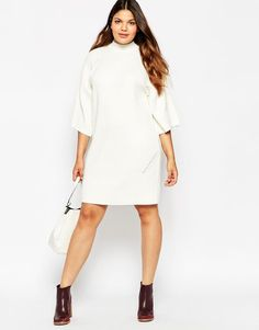 45eade582c2 ASOS CURVE Jumper Dress with Wide Sleeve and Double Neck Detail at asos.com