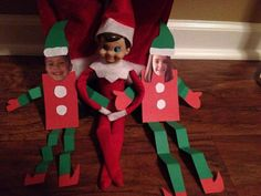 Elf on the shelf idea.....cut out pictures of the kids and make them ...