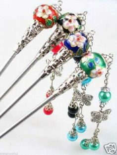8PCS Wholesale Rare Tibet Silver Cloisonne Hair Stick #HairStick