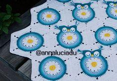 Crochet daisy owl square blanket pattern
