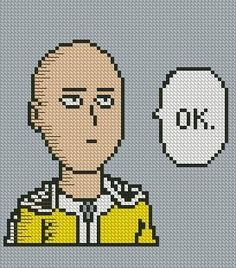 One Punch Man Saitama Cross Stitch Pattern  #crossstitch #saitama #onepunchman…