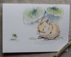 Bunny rabbit Watercolor Painted Card-Hide and by SunsetPeonies