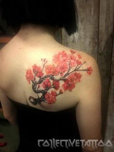 Cherry blossom shoulder tattoo.  This is my current tattoo, my sleeve will be on the other arm.