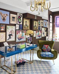 Elle Decor, Decoration Bedroom, Room Decor, Home Office Inspiration, Inspiration Wall, Office Inspo, Office Ideas, Simon Doonan, Deco Cool