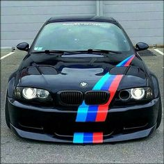 BMW E46 M3 black ///M stripe slammed