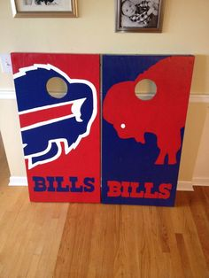 Buffalo Bills Cornhole Boards.  100% hand painted! Danscustomgames.com