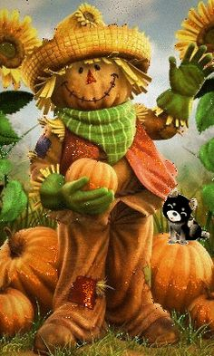 Fall Scarecrow by Christopher Tackett Cartoon character Illustration Share Pictures, Fall Pictures, Funny Pictures, Autumn Painting, Autumn Art, Scarecrow Painting, Halloween Painting, Holidays Halloween, Halloween Decorations