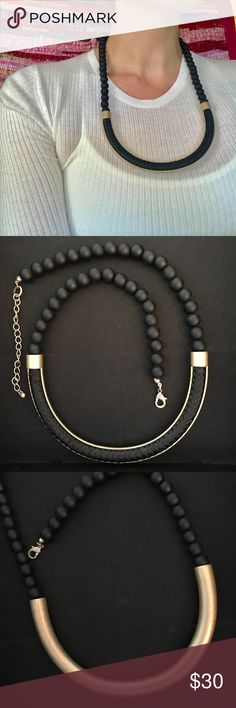 """NWOT Rope & Curved Bronze Bar Statement Necklace Intricately woven rope in a half open curved matte bronze bar with comfortable rubberized black beads. Its hard to really measure but in the photo that I'm wearing it, about 3/4s to the shortest end of the adjustable chain, meaning it could be about 3"""" longer.  4"""" of adjustable length Anthropologie Jewelry Necklaces"""