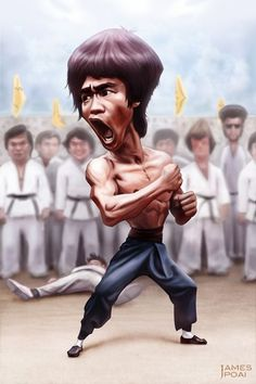 Bruce Lee as a Caricature Cartoon Faces, Funny Faces, Cute Cartoon, Cartoon Art, Caricature Artist, Caricature Drawing, Drawing Art, Drawing Tips, Funny Caricatures