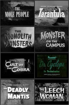 Black & White Horror: take a chance and show a few of these pre-Halloween and if the students laugh Sci Fi Movies, Fantasy Movies, Scary Movies, Old Movies, Halloween Movies, Comedy Movies, Vintage Movies, Fantasy Art, Horror Font