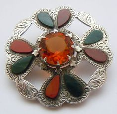 Victorian, Sterling Silver, Scottish Agate Brooch