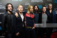Rami Jaffe, Nate Mendel, Taylor Hawkins, Dave Grohl, Chris Shiflett and Pat Smear of Foo Fighters attend the premiere of Foo Fighters 'Sonic Highways' at the Ed Sullivan Theater on October 14, 2014 in New York City.
