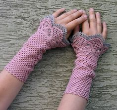 Beauty and the Dust - crocheted open work lacy wrist warmers