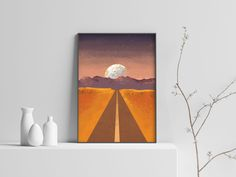 Excited to share the latest addition to my #etsy shop: Landscape Art, Landscape Print, Printable Colorful Art, Landscape Painting, Home Decor, Wall Art, Digital Download, Printable, Planet Print #art #print #digital #landscapescenery #bedroom #vertical #landscape #moonprint #planetprint Landscape Prints, Landscape Art, Landscape Paintings, Sunset Art, Moon Print, Beautiful Landscapes, Printable Wall Art, Digital Prints, Art Print