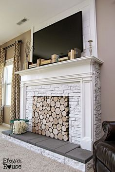 DIY faux fireplace - holy moly this is so doable and we have the fireplace this would just cover up the ugliness