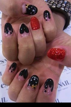 red and black various nail designs