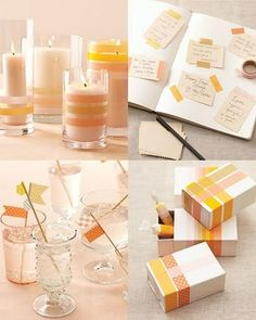 This is a neat idea for keeping things matching.  Washi Tape Wedding Ideas | DIY Wedding Trends