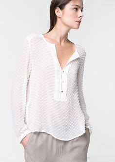 MANGO - CLOTHING - Tops - Silk cotton-blend plumeti blouse