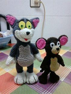 Gato y Ratón Tom y Jerry Amigurumi - Patrón Gratuito en Español