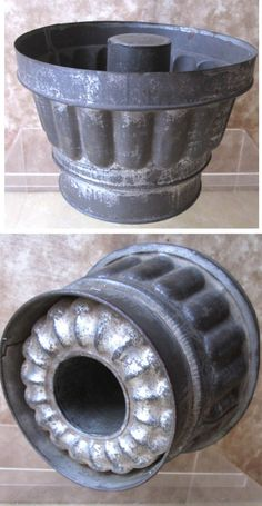 "Vintage TIN FOOD MOLD,Steamer,6 5/8"" Diam., C.1880,Quality!"