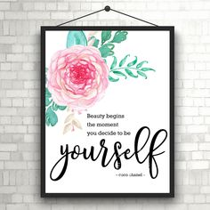 #BeYourself | #CocoChanel | #Beauty in you | Art Print | #Inspiration | Home Decor Print | #Printable | #Typography | #Motivation Quote by InspirationWallDecor on Etsy. Check more #digitalprint #walldecor #artprint themed at my #etsy store:  www.etsy.com/shop/InspirationWallDecor