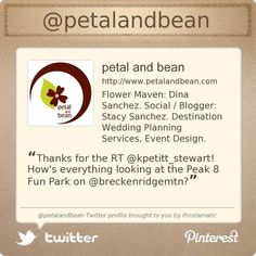 Summit County Mom, Dina Sanchez & husband Stacy Sanchez are on Twitter @petalandbean's Twitter profile courtesy of @Pinstamatic (http://pinstamatic.com)