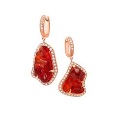18K rose gold earrings with 0.86 carat round brilliant cut diamonds and 7.84 carat center opal.(#23439) #michaeljohnjewelry