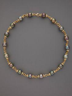 Multicolor Tahitian Pearl & Diamond Necklace by Tara Pearls at Gilt