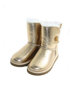 $150 Ugg kids bailey button gold boots