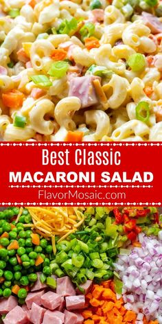 This cool, creamy Classic Macaroni Salad base recipe, can be easily customized with ham and colorful vegetables, for the Best Classic Macaroni Salad ever, and will be the most popular side dish at your summer BBQ or picnic! Macaroni Salad With Ham, Ham Pasta, Classic Macaroni Salad, Healthy Macaroni Salad, Mayo Pasta Salad Recipes, Healthy Salad Recipes, Picnic Salad Recipes, Pasta Cremosa, Side Dishes For Bbq