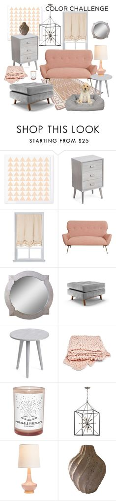 """Mid-Century Gray and Peach"" by enorthington ❤ liked on Polyvore featuring interior, interiors, interior design, home, home decor, interior decorating, MCM, Royal Velvet, Joybird and D.S. & DURGA"