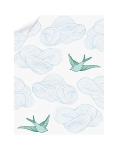 bird wallpaper Daydream Removable Wallpaper Tile with a birds and clouds pattern in blue and green Wallpaper Ceiling, Cloud Wallpaper, Green Wallpaper, Modern Wallpaper, Bathroom Wallpaper, Pattern Wallpaper, Iphone Wallpaper, Playroom Wallpaper, Wallpaper Backgrounds