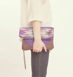 NOMAD Collection  STELLA Leather & Kimono Clutch  by gracedesign,