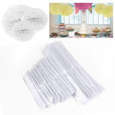 """8"""" 10"""" 15"""" 20-25-37cm Carta Tessuto Pom Poms Flore Finto Palla Sfera Matrimonio Festa - Bianco: Amazon.it: Casa e cucina"""