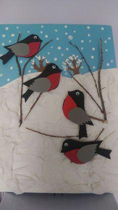 Winter Art Projects, Winter Crafts For Kids, Art For Kids, Winter Christmas, Christmas Crafts, Diy And Crafts, Arts And Crafts, 2nd Grade Art, Felt Birds
