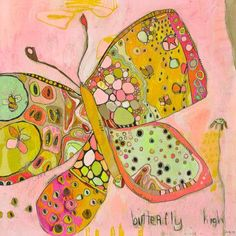 Dress up a bare wall with the Butterfly High Canvas Wall Art from Oopsy Daisy. Canvas wall art is perfect for adding color and style to bedrooms, playrooms, nurseries and even bathrooms! Art And Illustration, Art Papillon, Butterfly Canvas, Big Butterfly, Butterfly Painting, Butterfly Kisses, Whimsical Nursery, Whimsical Art, Nursery Decor