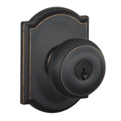 Schlage F Decorative Georgian x Camelot Aged Bronze Keyed Entry Door Knob Single Pack at Lowes.com