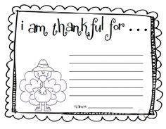 "i am thankful for printable turkey | Fun For First: Make an ""I Am Thankful"" list"