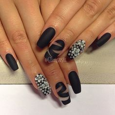 matte bondage nails with pearl accent