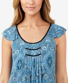 Ellen Tracy Printed Midi Nightgown - Blue XL